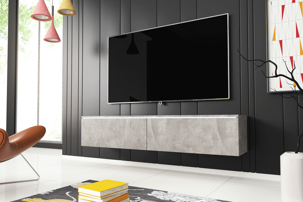 selsey sel kane 1400 cncr led kane 1400 tv stand for tvs up to 64 inch with led lighting kit