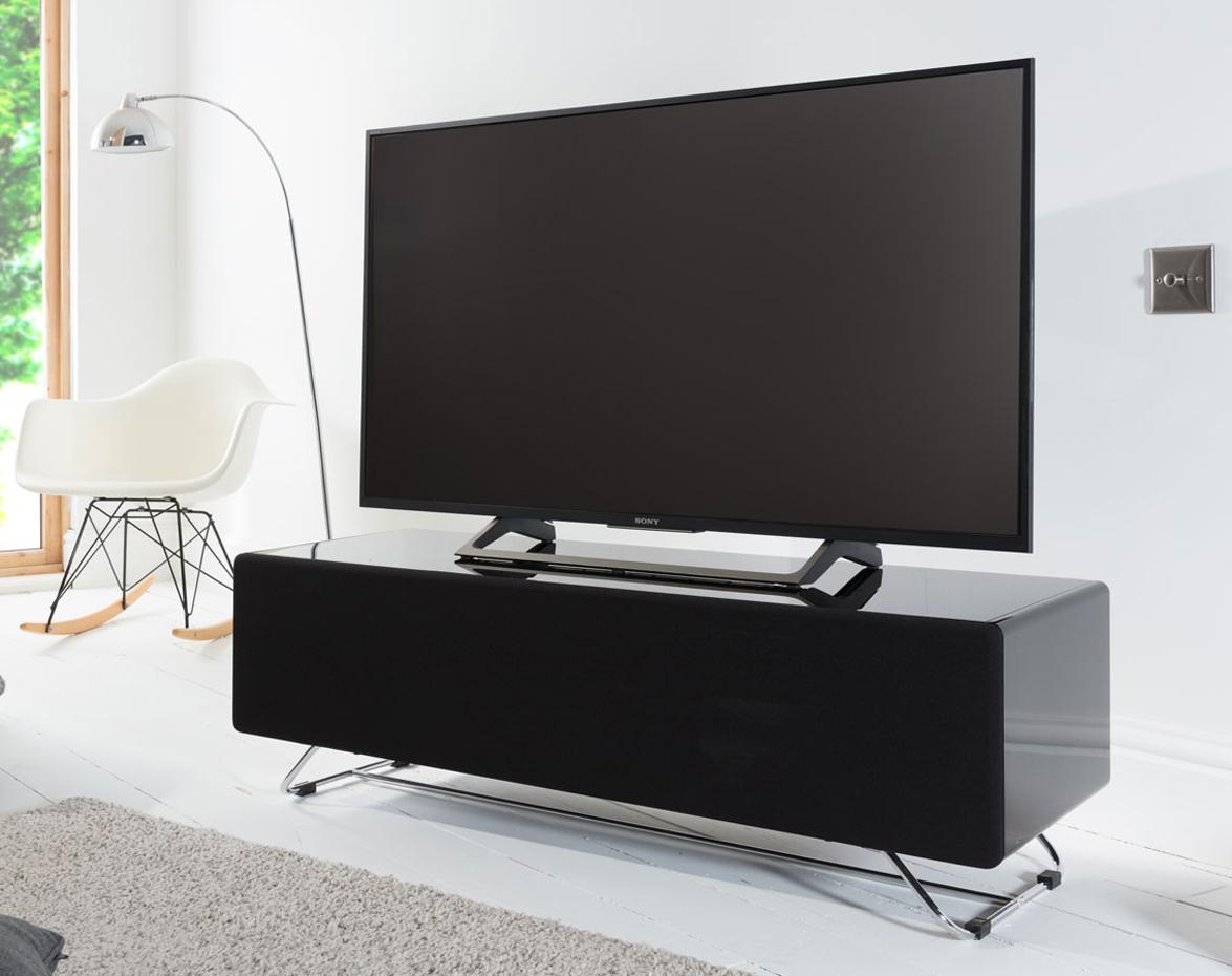 Alphason CRO2-1200CPT-BK Chromium Concept Black TV Stand with Speaker Mesh  Front