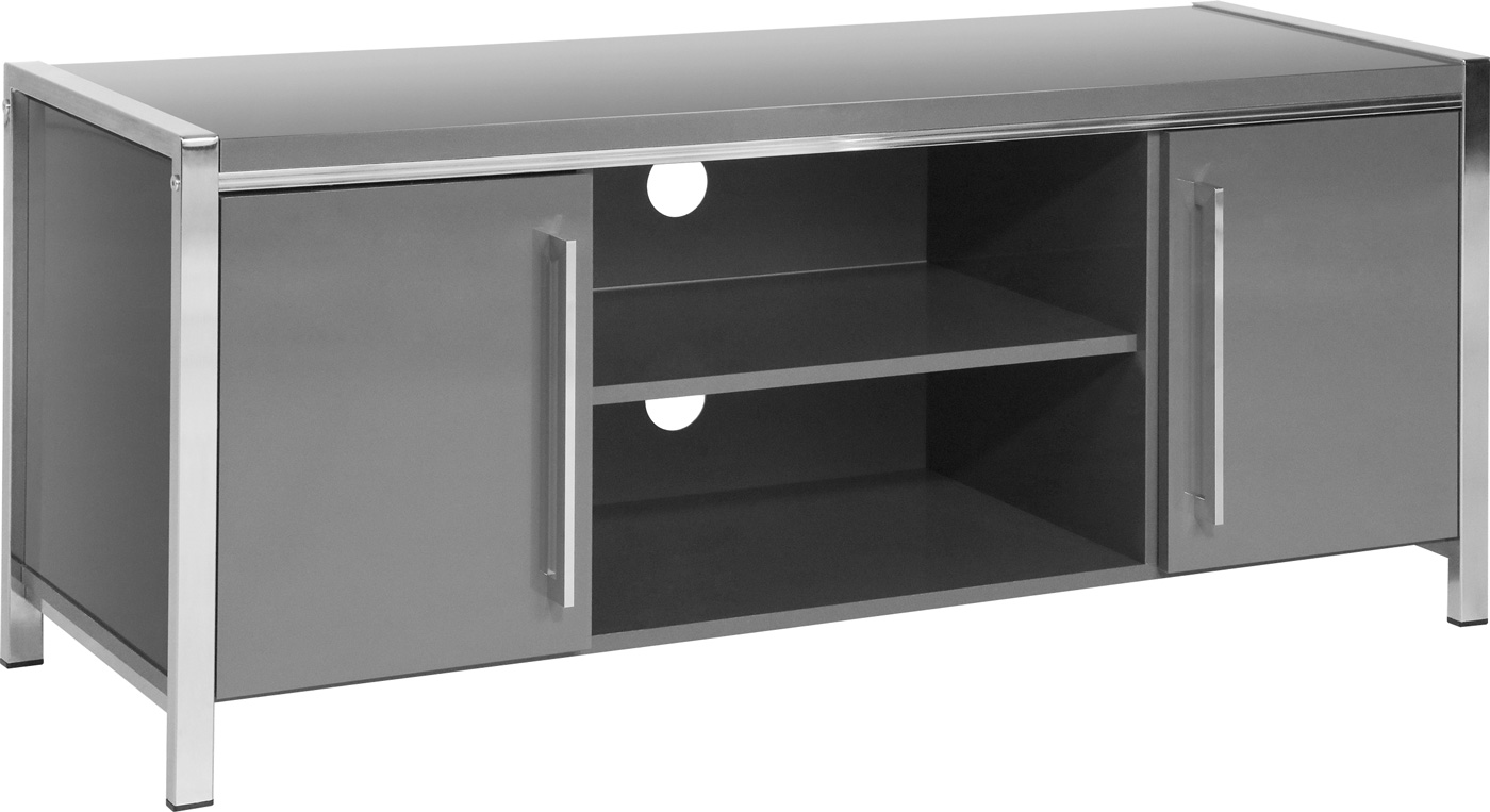 Valufurniture Charisma 2 Door 1 Shelf Flat Screen TV Unit - Grey  Gloss/Chrome