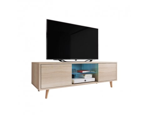 """Selsey Rivano 1400 TV Stand for TVs up to 50\"""" with LED Lighting Kit - Sonoma Oak"""
