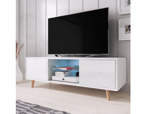 """Selsey Rivano 1400 TV Stand for TVs up to 50\"""" with LED Lighting Kit - White Matt & White Gloss"""
