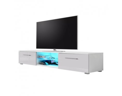 """Selsey Edith 1400  TV Stand for TVs up to 48\"""" with LED Lighting Kit - White Matt & Grey Gloss"""