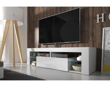 "Selsey Hugo 1400 TV Stand for TVs up to 50"" with LED Lighting Kit - White Matt & White Gloss"