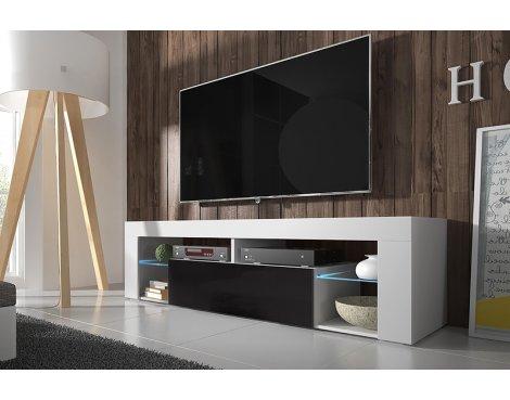 """Selsey Hugo 1400 TV Stand for TVs up to 50\"""" with LED Lighting Kit - White Matt & Black Gloss"""