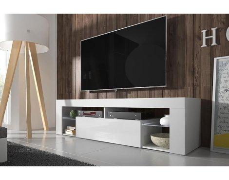 """Selsey Hugo 1400 TV Stand for TVs up to 50\"""" - White Matt & White Gloss"""