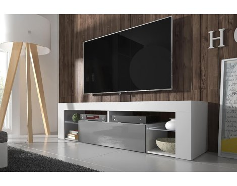 "Selsey Hugo 1400 TV Stand for TVs up to 50"" - White Matt & Grey  Gloss"