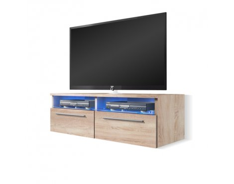 """Selsey Siena 1000  TV Stand for TVs up to 55\"""" with LED Lighting Kit - Sonoma Oak"""