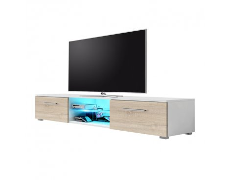 "Selsey Edith 1400  TV Stand for TVs up to 48"" with LED Lighting Kit - White Matt & Sonoma Oak"