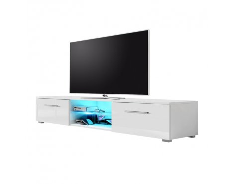 "Selsey Edith 1400  TV Stand for TVs up to 48"" with LED Lighting Kit - White Matt & White Gloss"