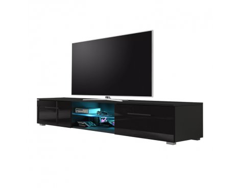 "Selsey Edith 1400  TV Stand for TVs up to 48"" with LED Lighting Kit - Black Matt & Black Gloss"