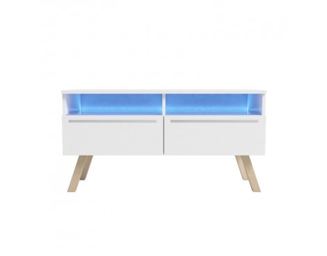 """Selsey Siena Wood 1000 TV Stand for TVs up to 55\"""" with LED Lighting Kit - White"""