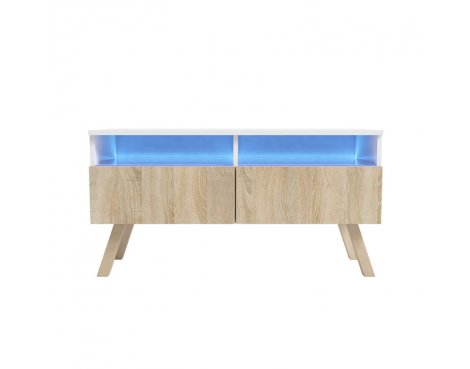 """Selsey Siena Wood 1000 TV Stand for TVs up to 55\"""" with LED Lighting Kit - White & Sonoma Oak"""