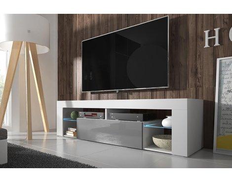 "Selsey Hugo 1400 TV Stand for TVs up to 50\"" with LED Lighting Kit - White Matt & Grey Gloss"
