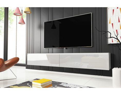 "Selsey Kane 1800 TV Stand for TVs up to 90\"" - White Matt & White Gloss"