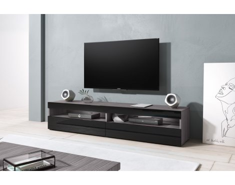 "Selsey Kubrick 1800 TV Stand for TVs up to 90"" - Walnut & Black Gloss"