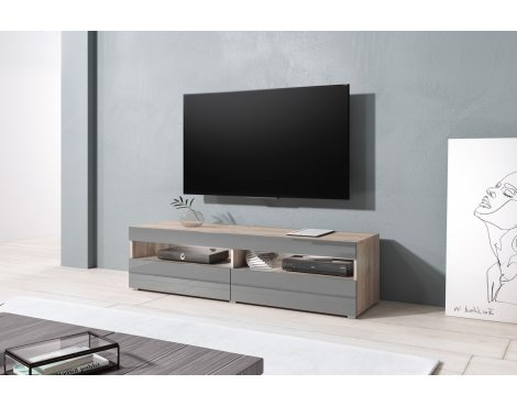 "Selsey Kubrick 1400 TV Stand for TVs up to 64"" - Oak & Grey Gloss"
