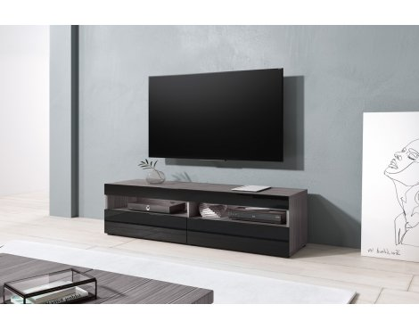 "Selsey Kubrick 1400 TV Stand for TVs up to 64"" - Walnut & Black Gloss"