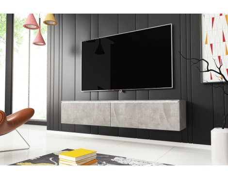 """Selsey Kane 1400 TV Stand for TVs up to 64\"""" with LED Lighting Kit - Concrete"""