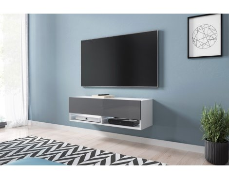 """Selsey Wander 1000 TV Stand for TVs up to 49\"""" with LED Lighting Kit - White Matt & Grey Gloss"""
