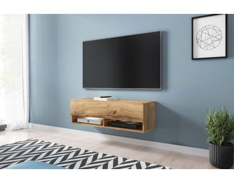 """Selsey Wander 1000 TV Stand for TVs up to 49\"""" with LED Lighting Kit - Oak"""