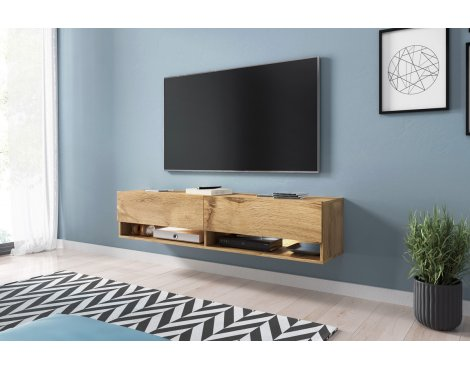 "Selsey Wander 1400 TV Stand for TVs up to 64"" with LED Lighting Kit - Oak"