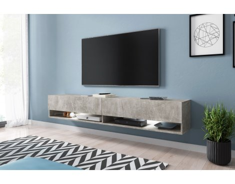"""Selsey Wander 1800 TV Stand for TVs up to 90\"""" with LED Lighting Kit - Concrete"""