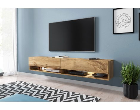 """Selsey Wander 1800 TV Stand for TVs up to 90\"""" with LED Lighting Kit - Oak"""