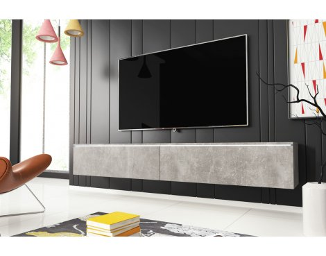 "Selsey Kane 1800 TV Stand for TVs up to 90"" with LED Lighting Kit - Concrete"