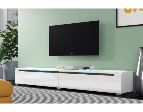 """Selsey Swift 1800 TV Stand for TVs up to 90\"""" with LED Lighting Kit - White Gloss"""