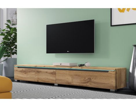 """Selsey Swift 1800 TV Stand for TVs up to 90\"""" with LED Lighting Kit - Oak"""