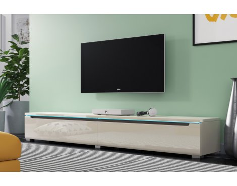 "Selsey Swift 1800 TV Stand for TVs up to 90"" with LED Lighting Kit - Grey Gloss"
