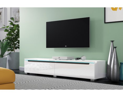 """Selsey Swift 1400 TV Stand for TVs up to 64\"""" with LED Lighting Kit - White Gloss"""