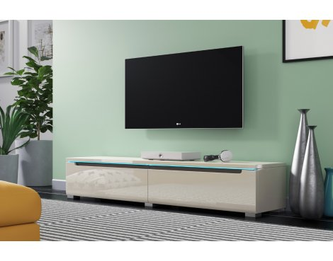 """Selsey Swift 1400 TV Stand for TVs up to 64\"""" with LED Lighting Kit - Grey Gloss"""