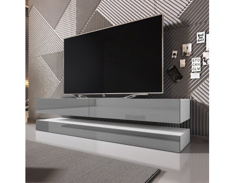 """Selsey Aviator 1400 TV Stand for TVs up to 48\"""" - White Gloss & Grey Gloss"""