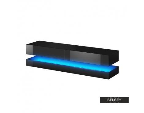 """Selsey Aviator 1400 TV Stand for TVs up to 48\"""" with LED Lighting Kit - Black Matt & Black Gloss"""