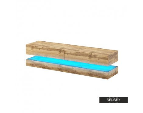 """Selsey Aviator 1400 TV Stand for TVs up to 48\"""" with LED Lighting Kit - Sonoma Oak"""