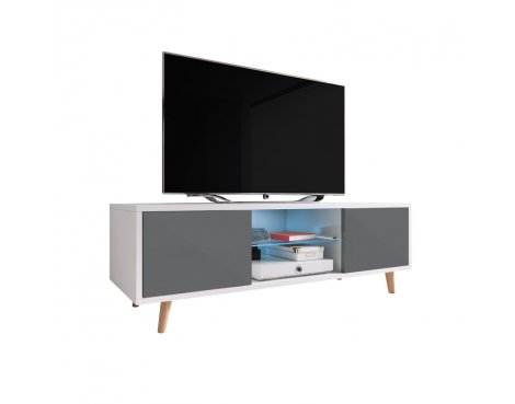 "Selsey Rivano 1400 TV Stand for TVs up to 50"" with LED Lighting Kit - White Matt & Grey Gloss"