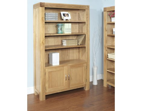 Rustic Grange Santana Blonde Oak Bookcase with Cupboard