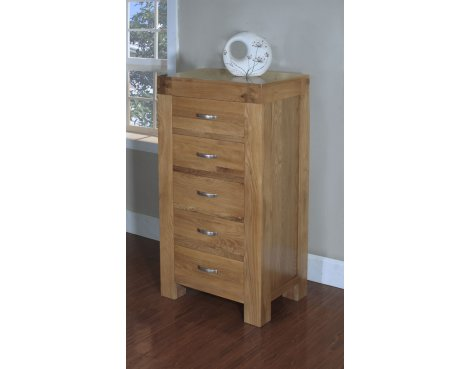Rustic Grange Santana Blonde Oak 5 Drawer Narrow Chest