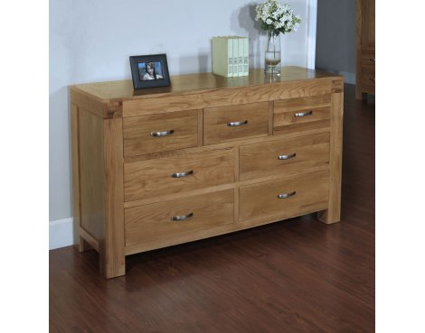 Rustic Grange Santana Blonde Oak 7 Drawer Wide Chest