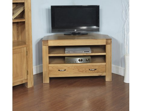 Rustic Grange Santana Blonde Oak Corner TV Unit