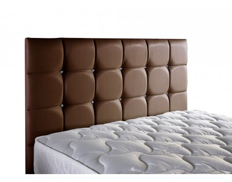 ValuFurniture Diamond Leather Headboard - Brown - Small Double 4ft