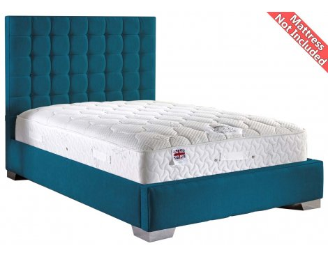 ValuFurniture Coppella Chenille Fabric  Divan Bed Frame - Teal- Super King - 6ft