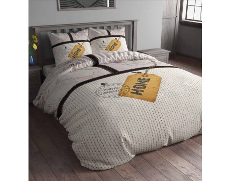 Sleep Time Home Label Duvet Cover Set - Grey - King 5ft
