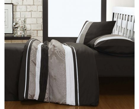 Fancy Embroidery Dynamo Duvet Cover Set - Grey - Double 4ft6