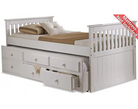 Amani Captain Guest Single Slat Bed with trundle and Storage - 3 Drawers