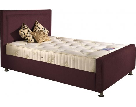 ValuFurniture Calverton Divan Bed & Mattress Set - Aubergine Chenille Fabric - Small Double - 4ft