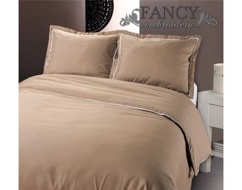 Fancy Embroidery Messina Taupe Duvet Cover Set - Beige - Double 4ft6