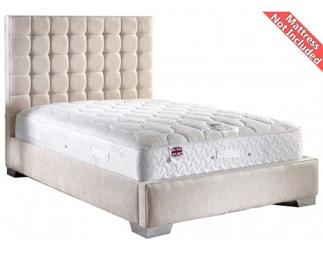 ValuFurniture Coppella Chenille Fabric  Divan Bed Frame - Cream - Super King - 6ft