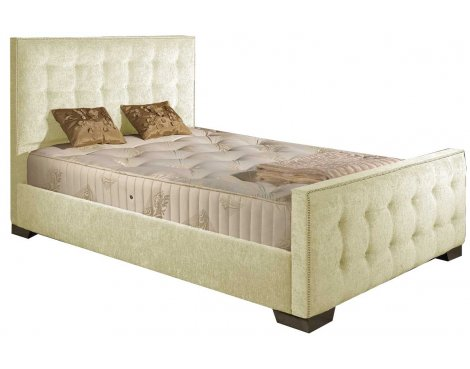 ValuFurniture Delaware Chenille Fabric Divan Bed Frame - Cream - Double - 4ft 6